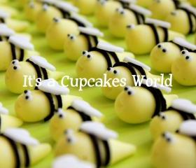 12 3DBumble Bee Fondant Cupcake or Cake toppers